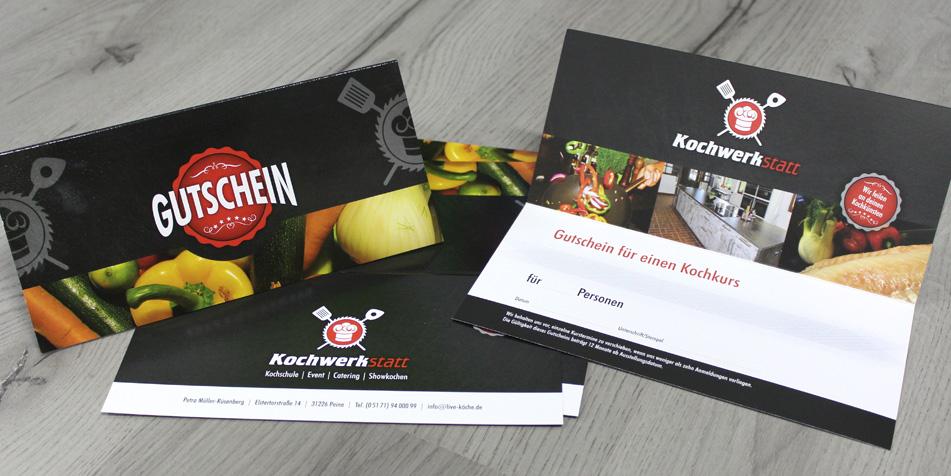 Gutscheine Kochwerkstatt - unique Design & Druck